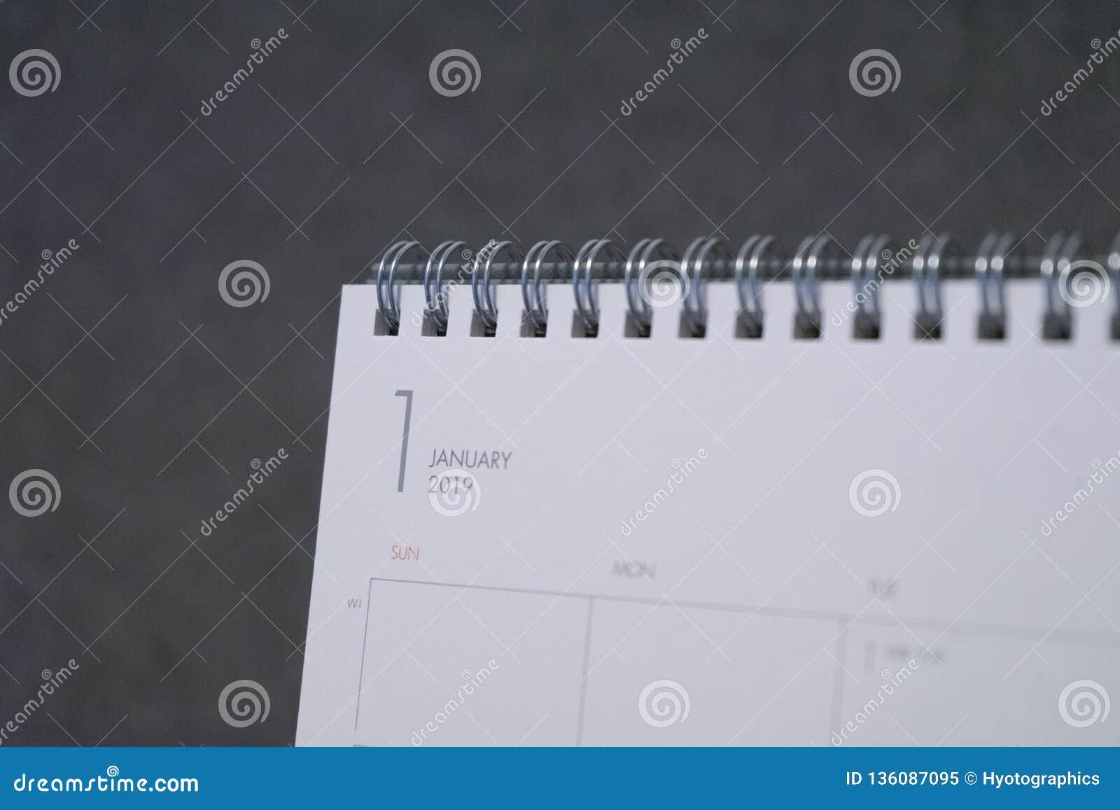 Listowy Styczeń na 2019 kalendarzu