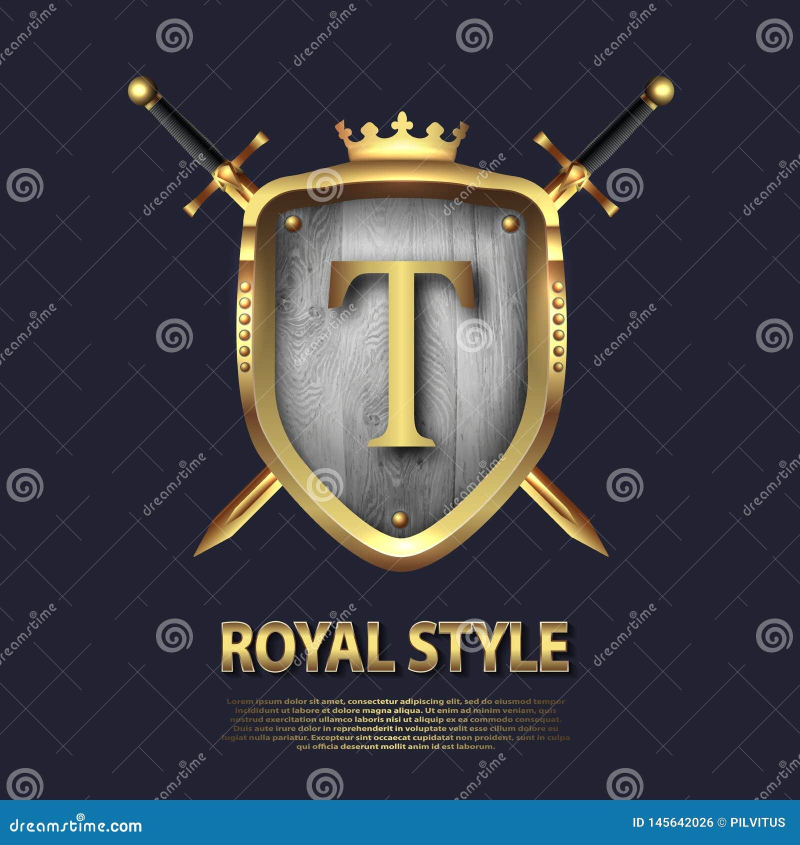 Listowy T, dwa krzyżującej osłony z koroną i kordziki i Listowy projekt w z?ocistym kolorze dla u?ywa jako heraldyczny symbol w?a