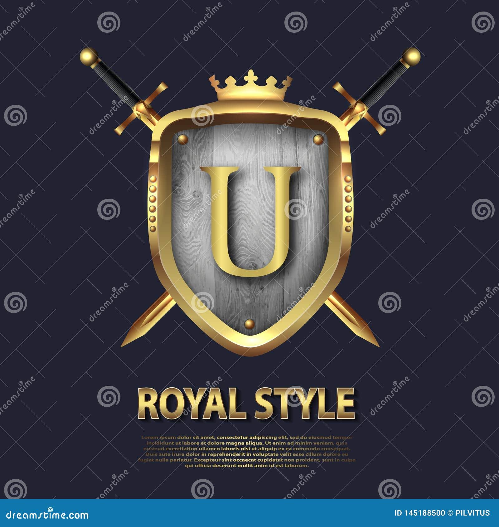 Listowy U, dwa krzyżującej osłony z koroną i kordziki i Listowy projekt w z?ocistym kolorze dla u?ywa jako heraldyczny symbol w?a