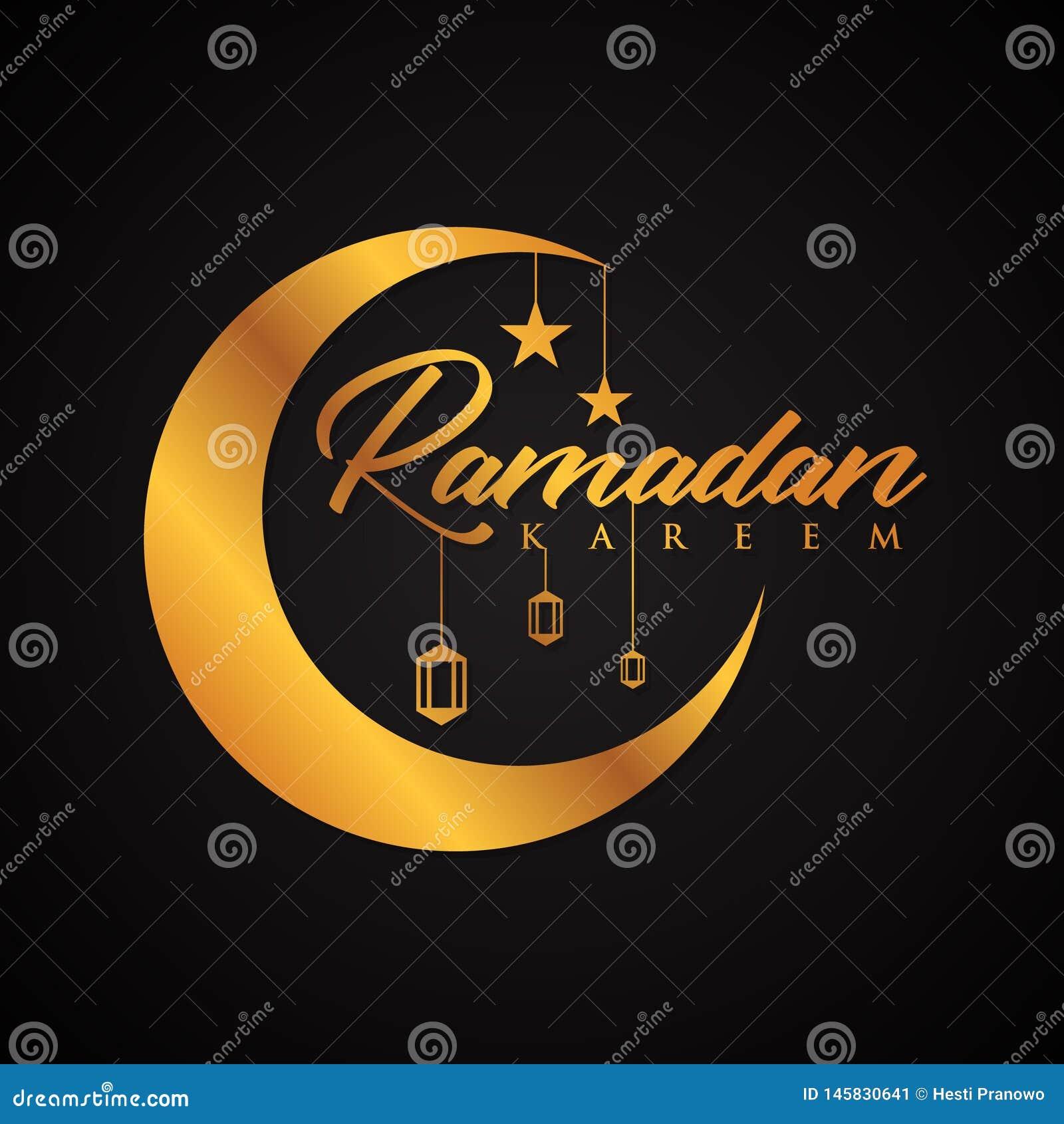 Listowy wektorowy Ramadan kareem w elegancja stylu na czarnym tle
