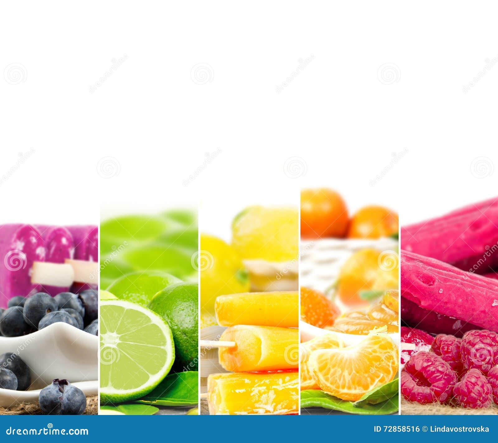 Listras da mistura do gelado do fruto