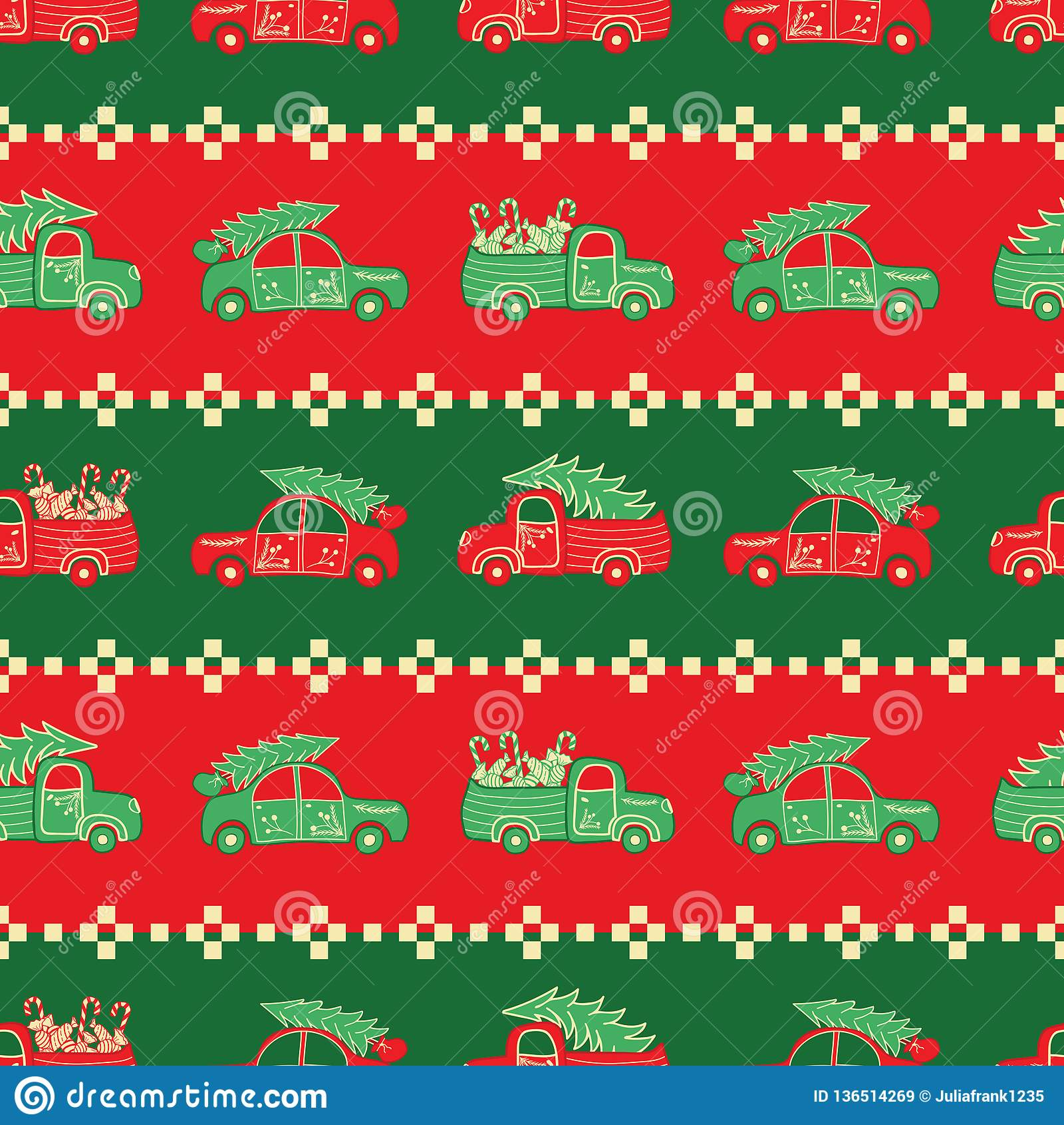Listras de caminhões do Natal no teste padrão do vetor das cores vermelhas e verdes