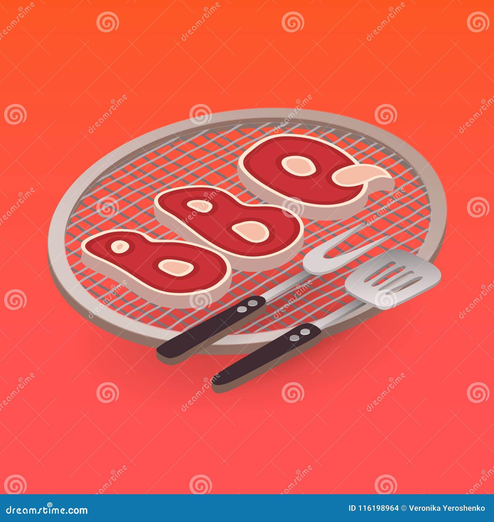 Listu BBQ na grilla i grilla elementach wektor