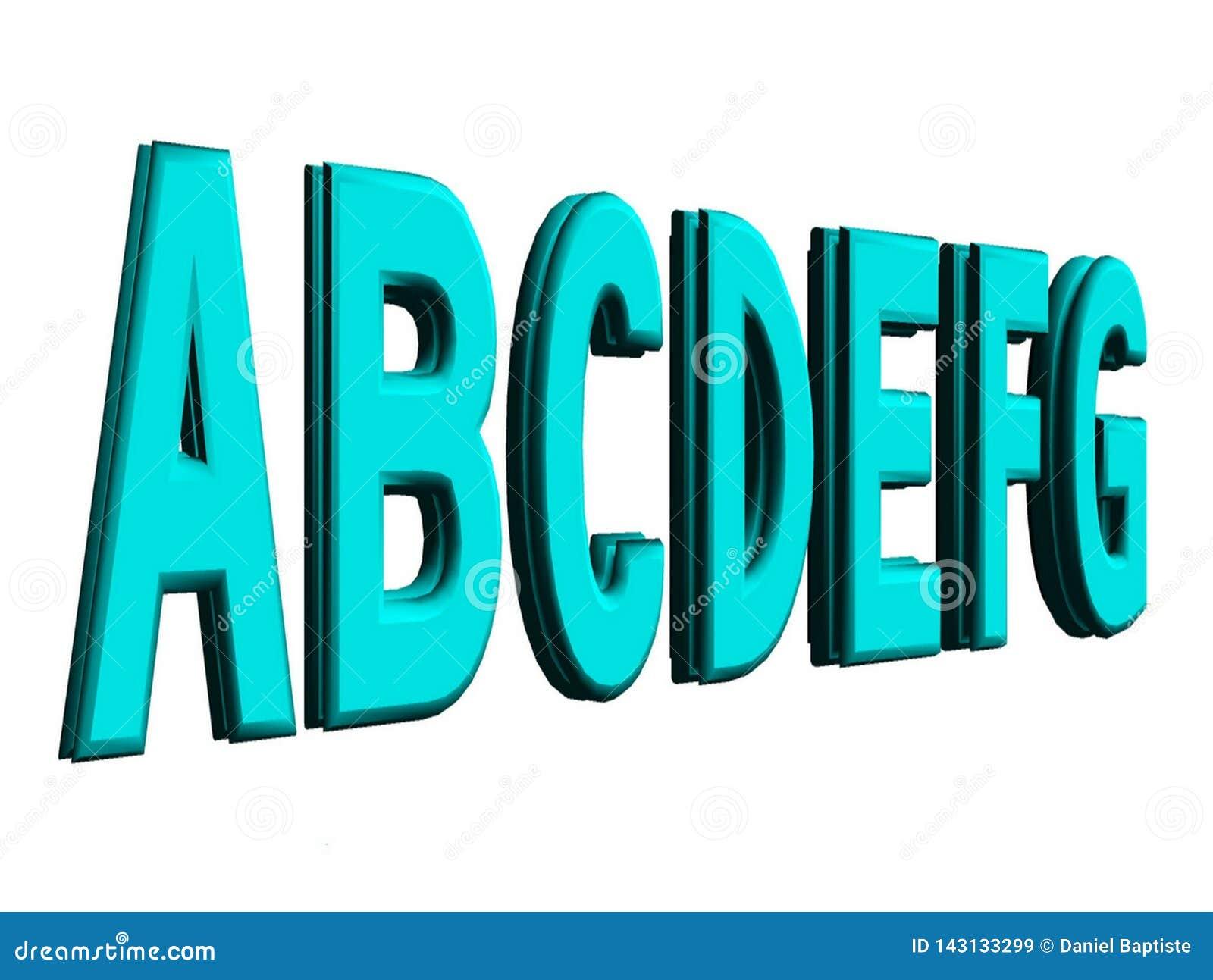 Listy abecadło przedstawiający w 3d odizolowywającym na białym tle