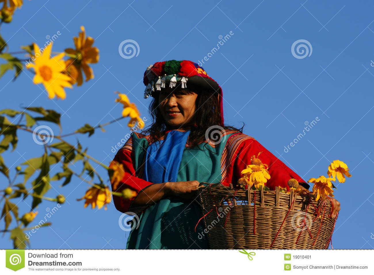 Lisu hill tribe woman in costume