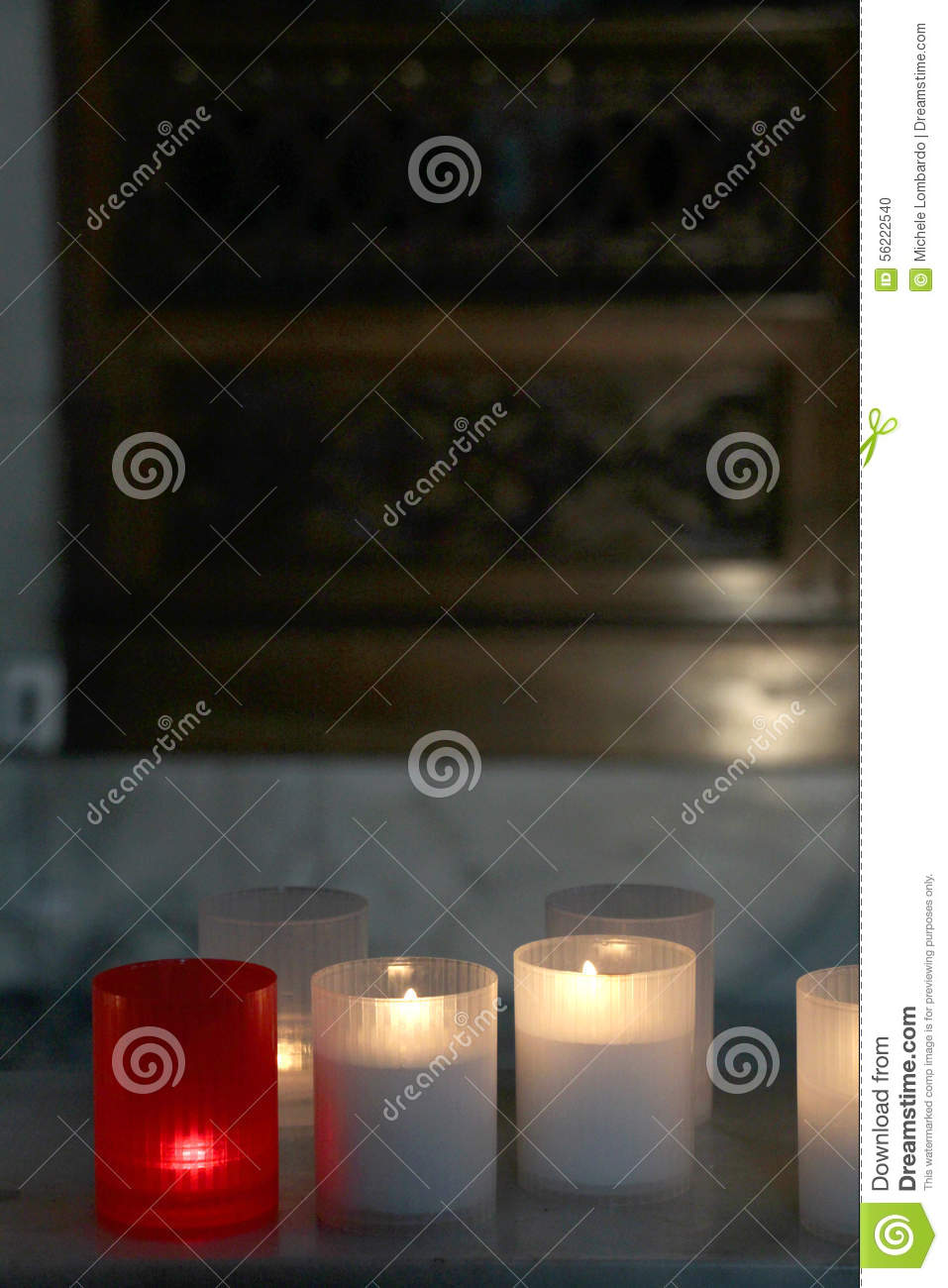 Lit Candles Inside A Church, Detail Stock Photo - Image of
