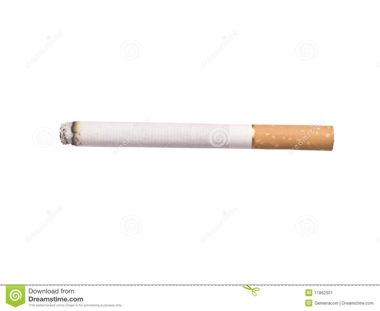 Lit cigarette isolated on a white background.
