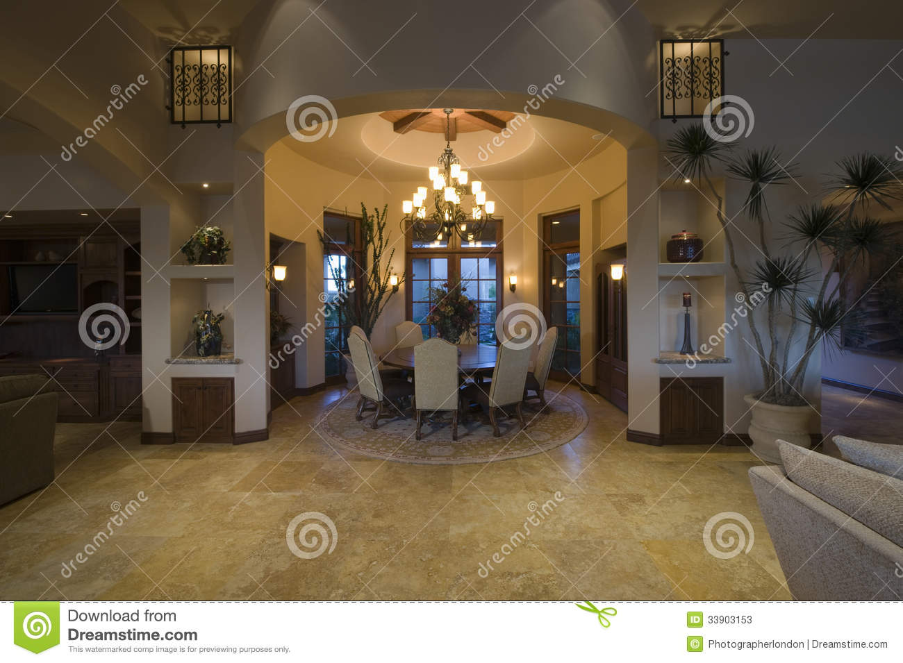 Modern Home Dining Rooms lit circular dining room of modern home stock photos - image: 33903153