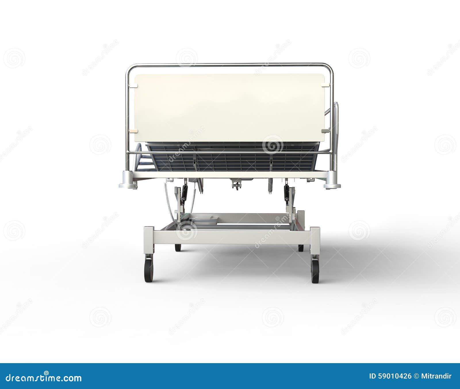 lit d 39 h pital avec la literie bleue vue de face. Black Bedroom Furniture Sets. Home Design Ideas