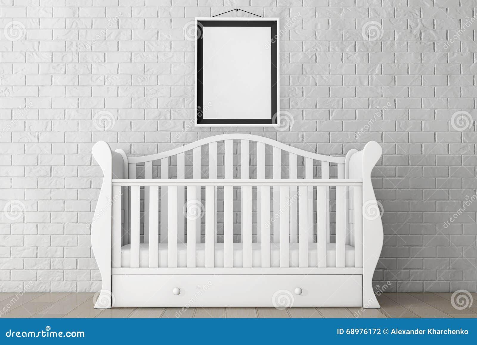 Lit De Bebe Avec Le Cadre Vide De Photo Rendu 3d Photo Stock Image