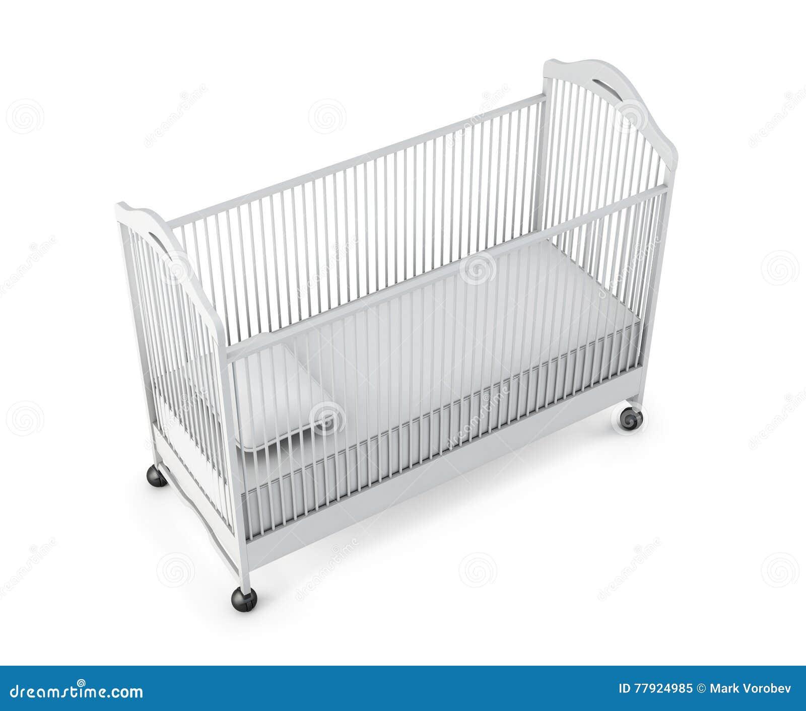 Lit de bébé sur le fond blanc rendu 3d
