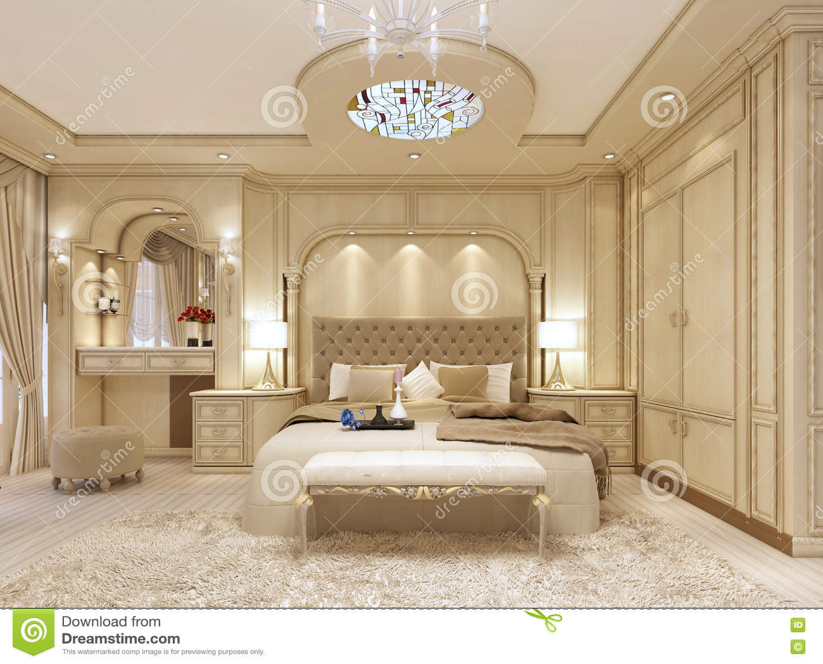 lit de luxe dans une grande chambre coucher n oclassique avec le cr neau d coratif. Black Bedroom Furniture Sets. Home Design Ideas
