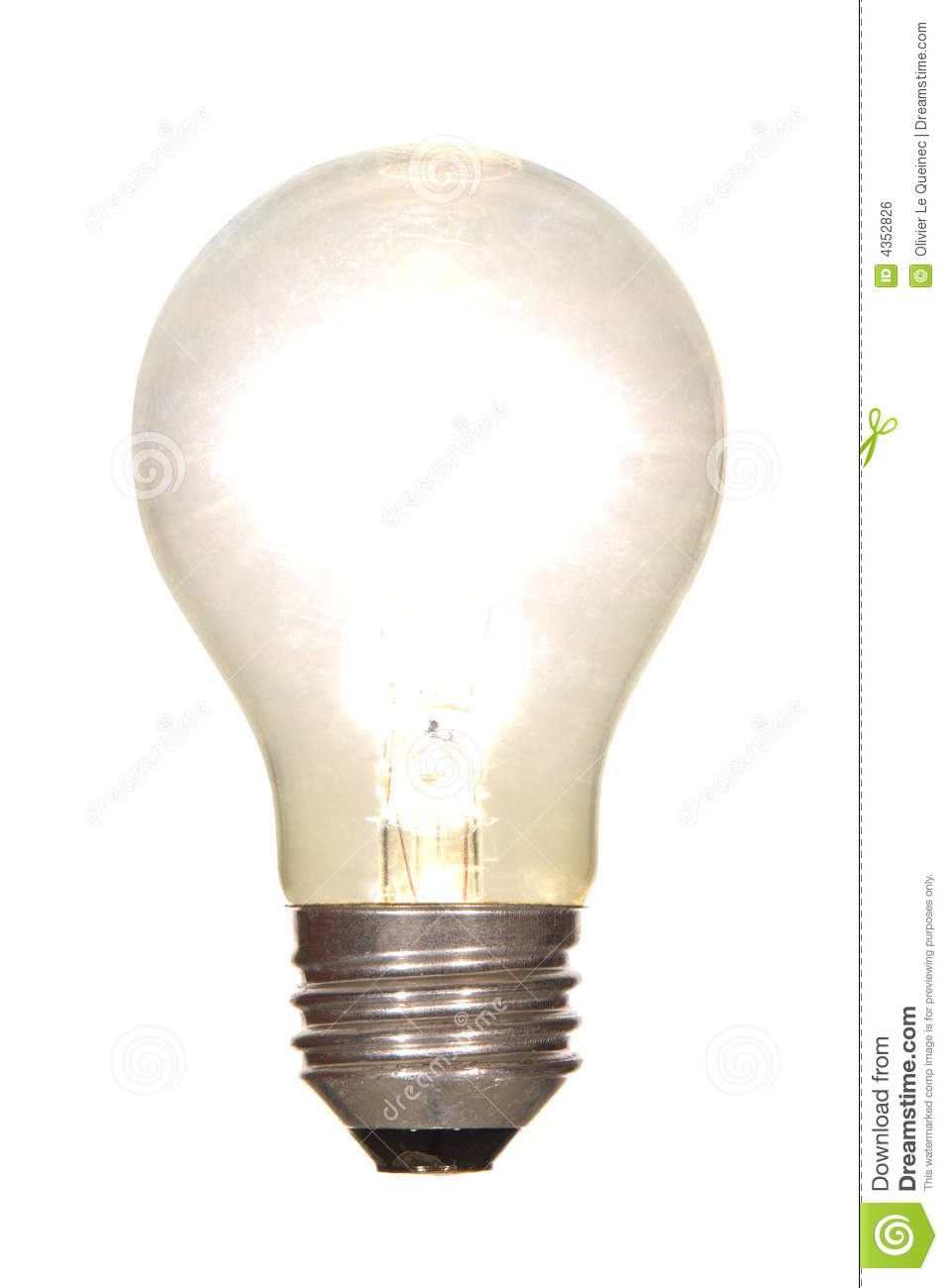 Lit Electric Light Bulb Glowing Bright Isolated Stock Photo Image 4352826