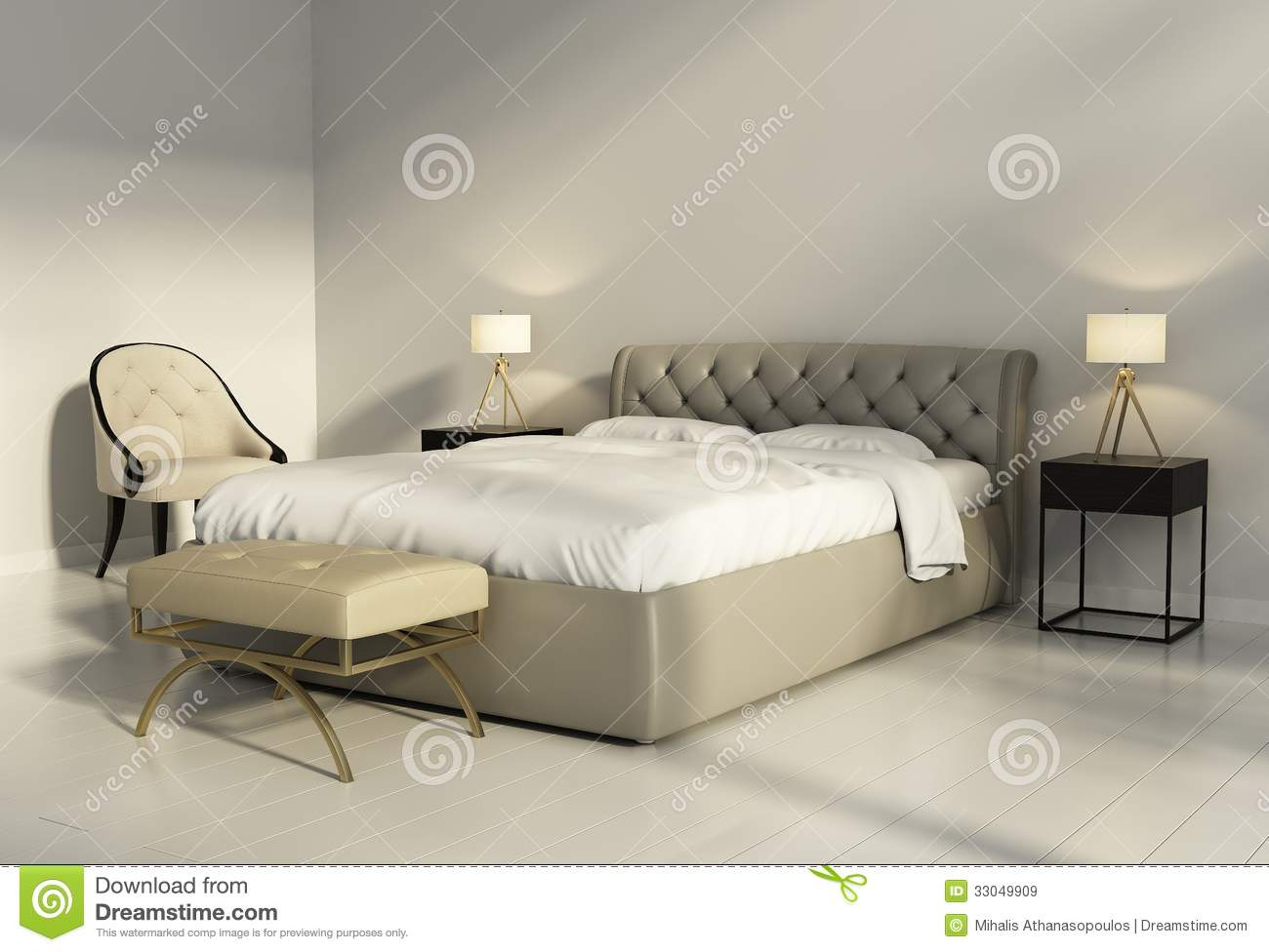 lit en cuir tuft chic dans la chambre coucher chic contemporaine image stock image du. Black Bedroom Furniture Sets. Home Design Ideas