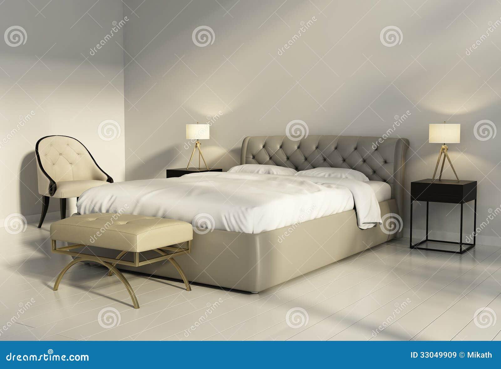 Lit en cuir tuft chic dans la chambre coucher chic contemporaine images libres de droits - Chambre a coucher contemporaine ...