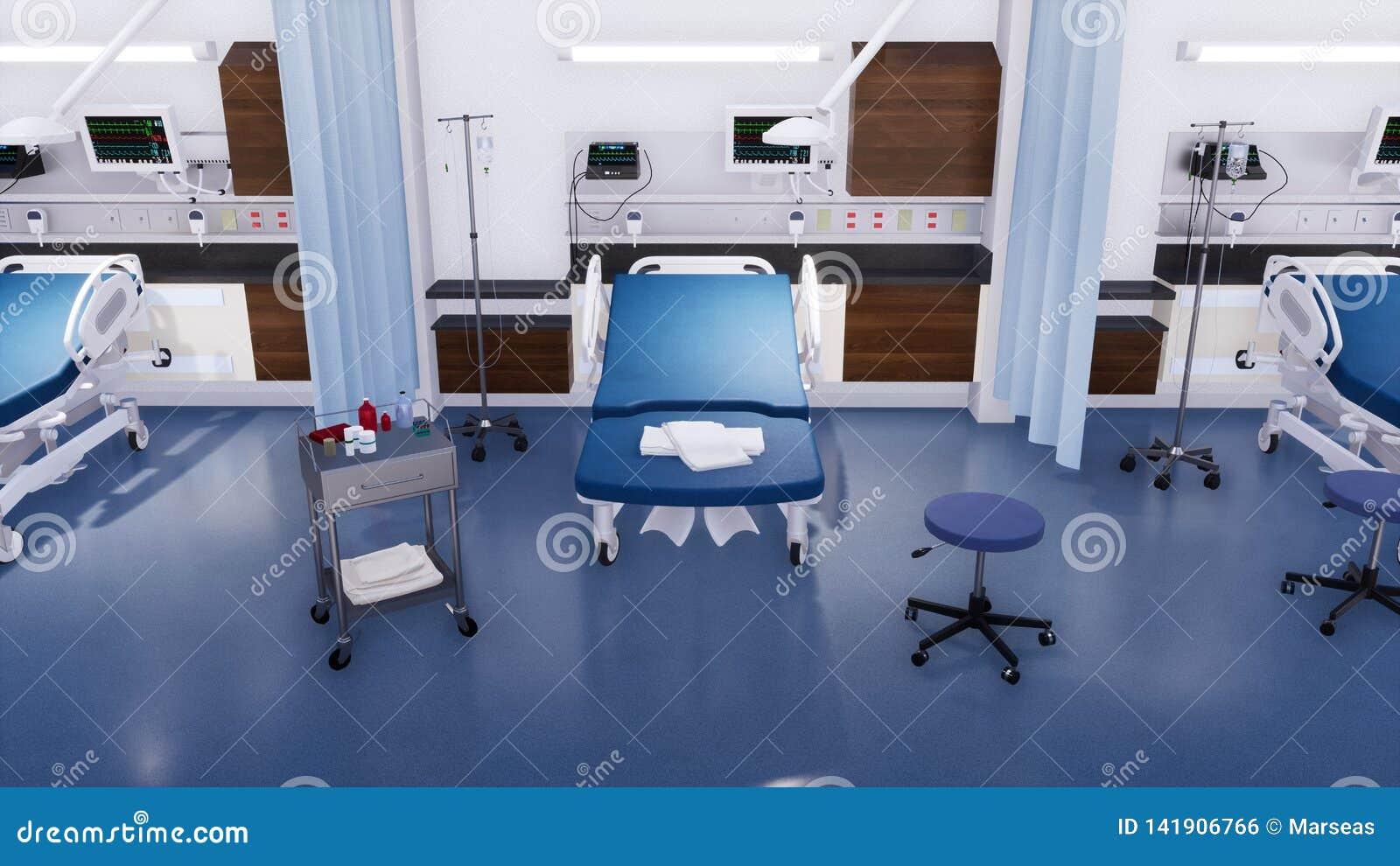 Lit Du0027hôpital Vide Et Divers Matériel Médical De Premiers Secours Dans La  Chambre De Secours De La Clinique Moderne Sans Lu0027illustration Des Personnes  3D Sur ...