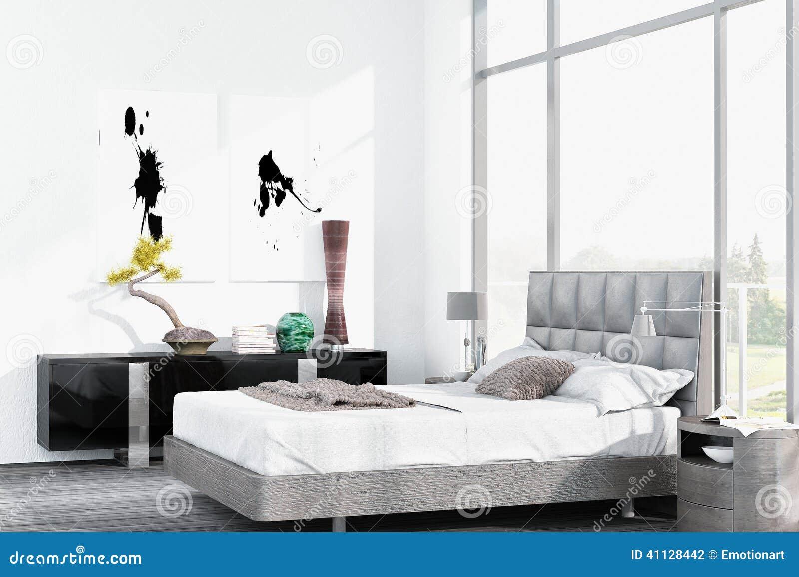 lit grand blanc moderne contre le plancher la fen tre de plafond illustration stock. Black Bedroom Furniture Sets. Home Design Ideas
