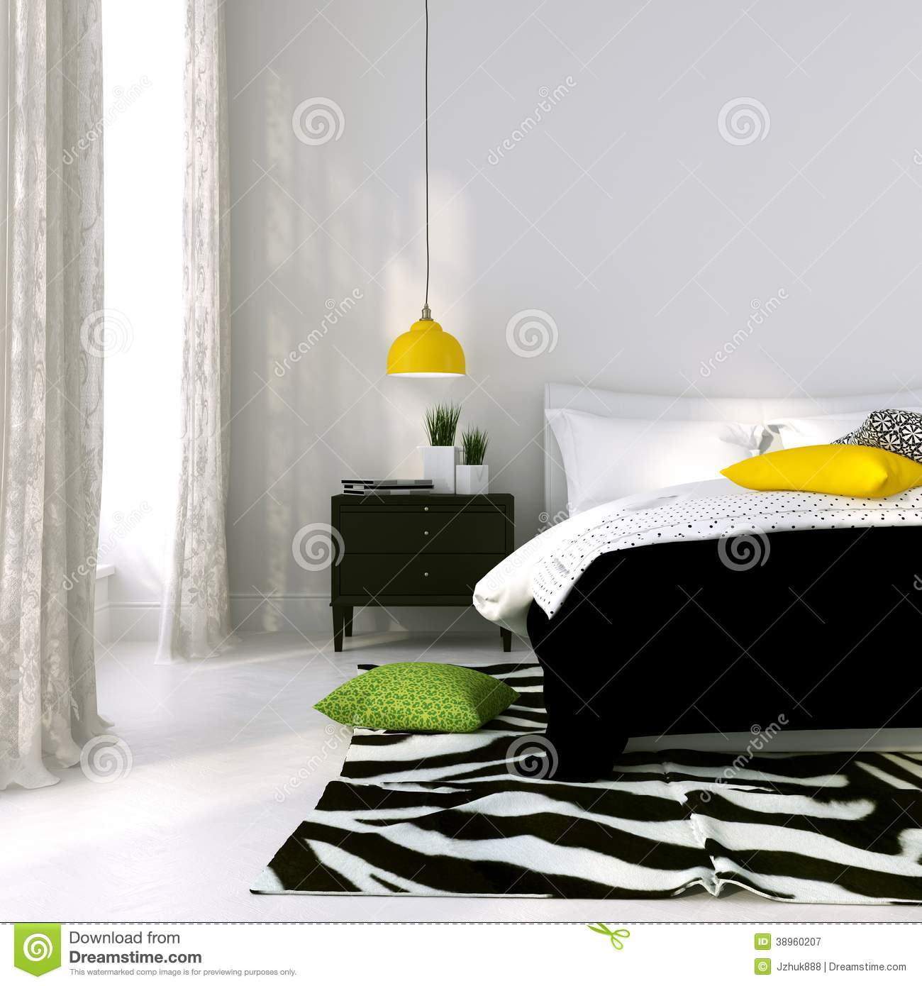 lit noir et blanc et une lampe jaune illustration stock illustration du bedroom d cor 38960207. Black Bedroom Furniture Sets. Home Design Ideas