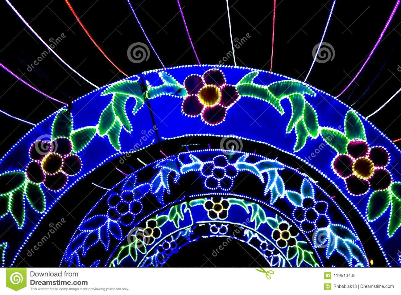 Flower Tunnel China Lights Editorial Image Image Of Animal
