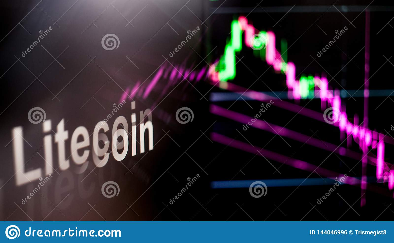 Litecoin Cryptocurrency token. The behavior of the cryptocurrency exchanges, concept. Modern financial technologies.