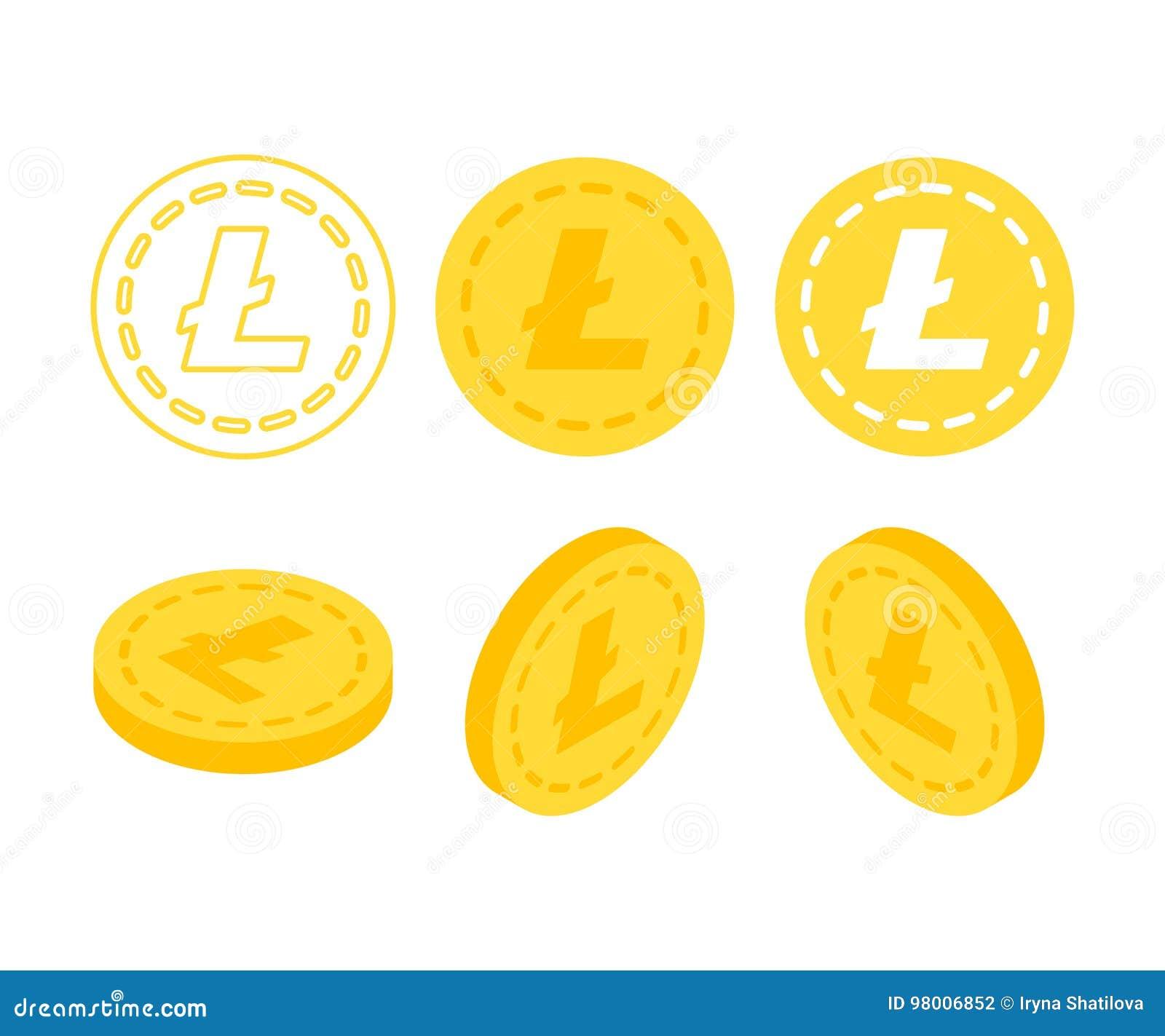 Litecoin 3d płaski isometric pieniądze