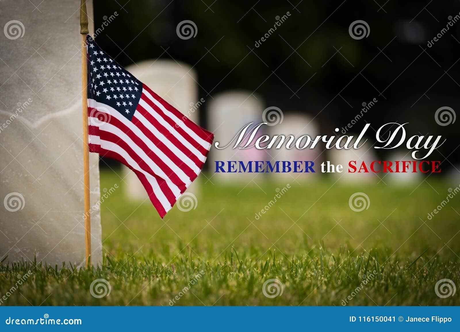Liten amerikanska flaggan på den nationella kyrkogården - Memorial Day skärm -