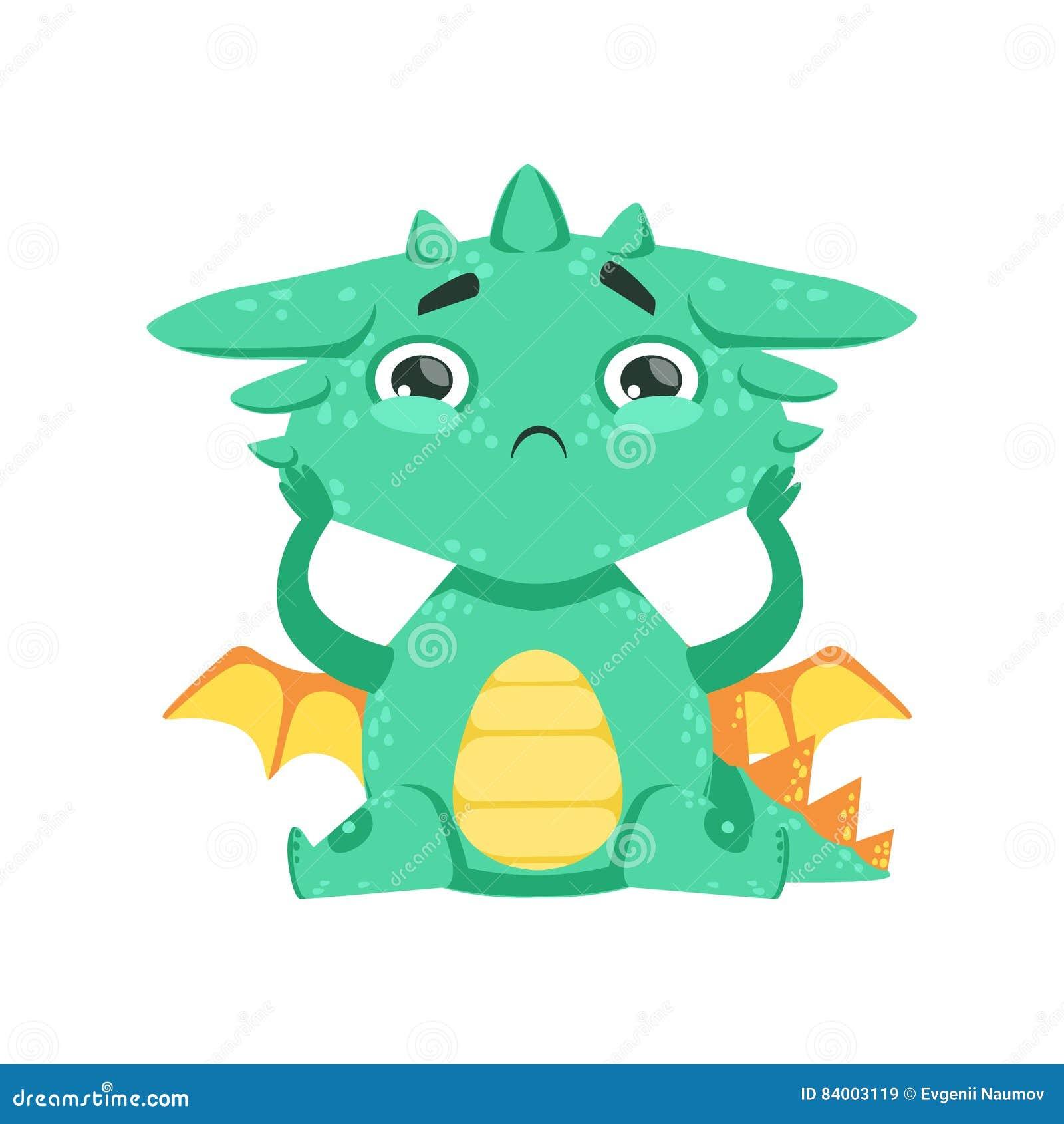 Liten Animestil behandla som ett barn den Dragon Feeling Lonely Cartoon Character Emoji illustrationen