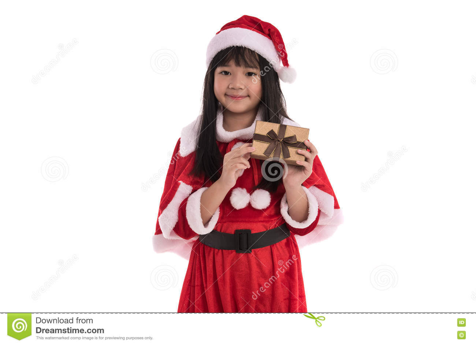 Liten asiatisk flicka i jul