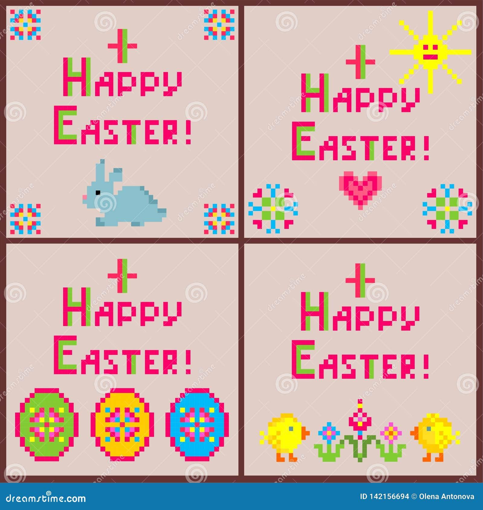 Liten barnslig samling för linneservetter med broderi för påsk med färgrika den äggformer, kaninen, höna, blommor, solen och hea