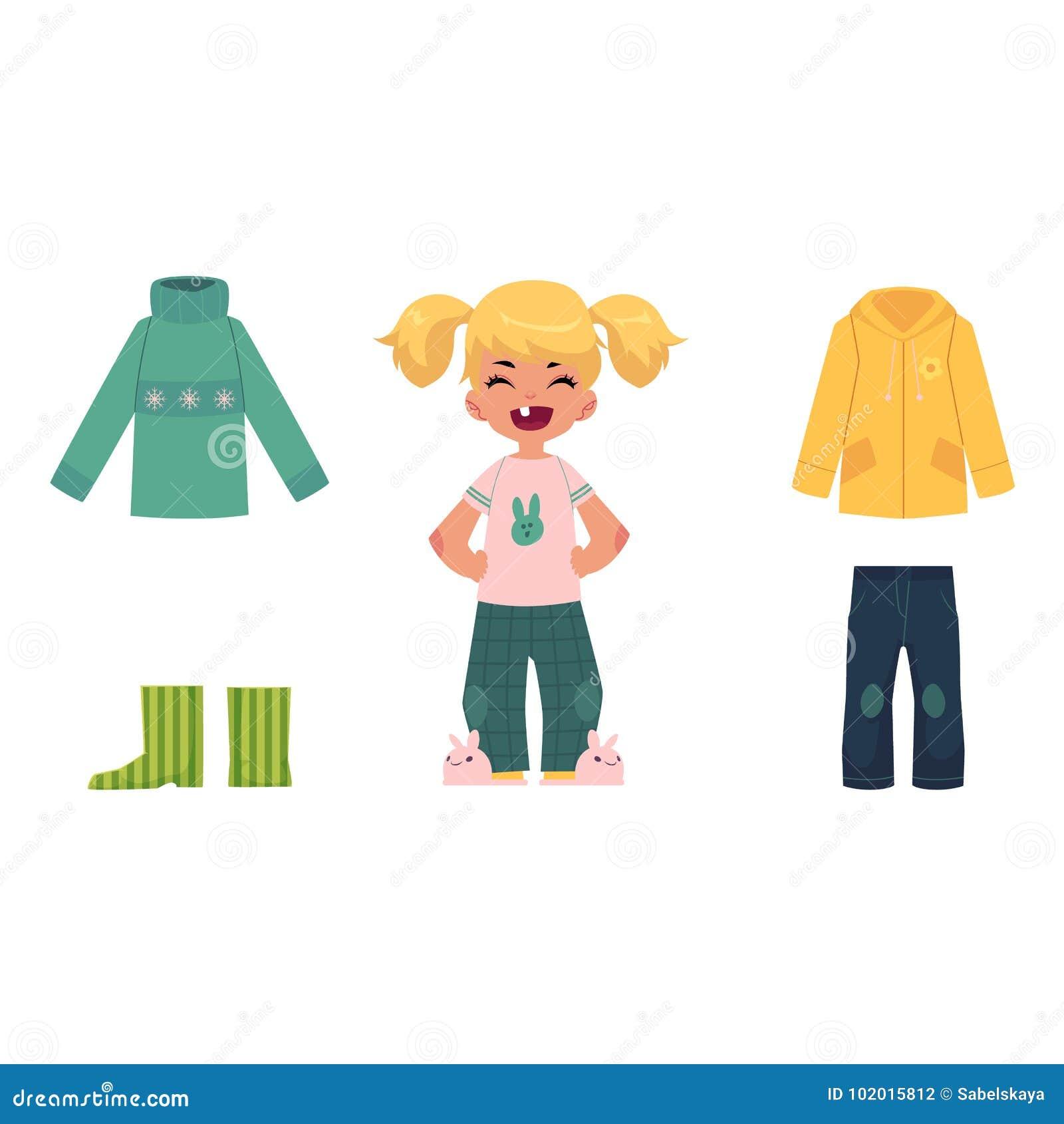 Liten flicka, barn, unge och hennes höstkläder