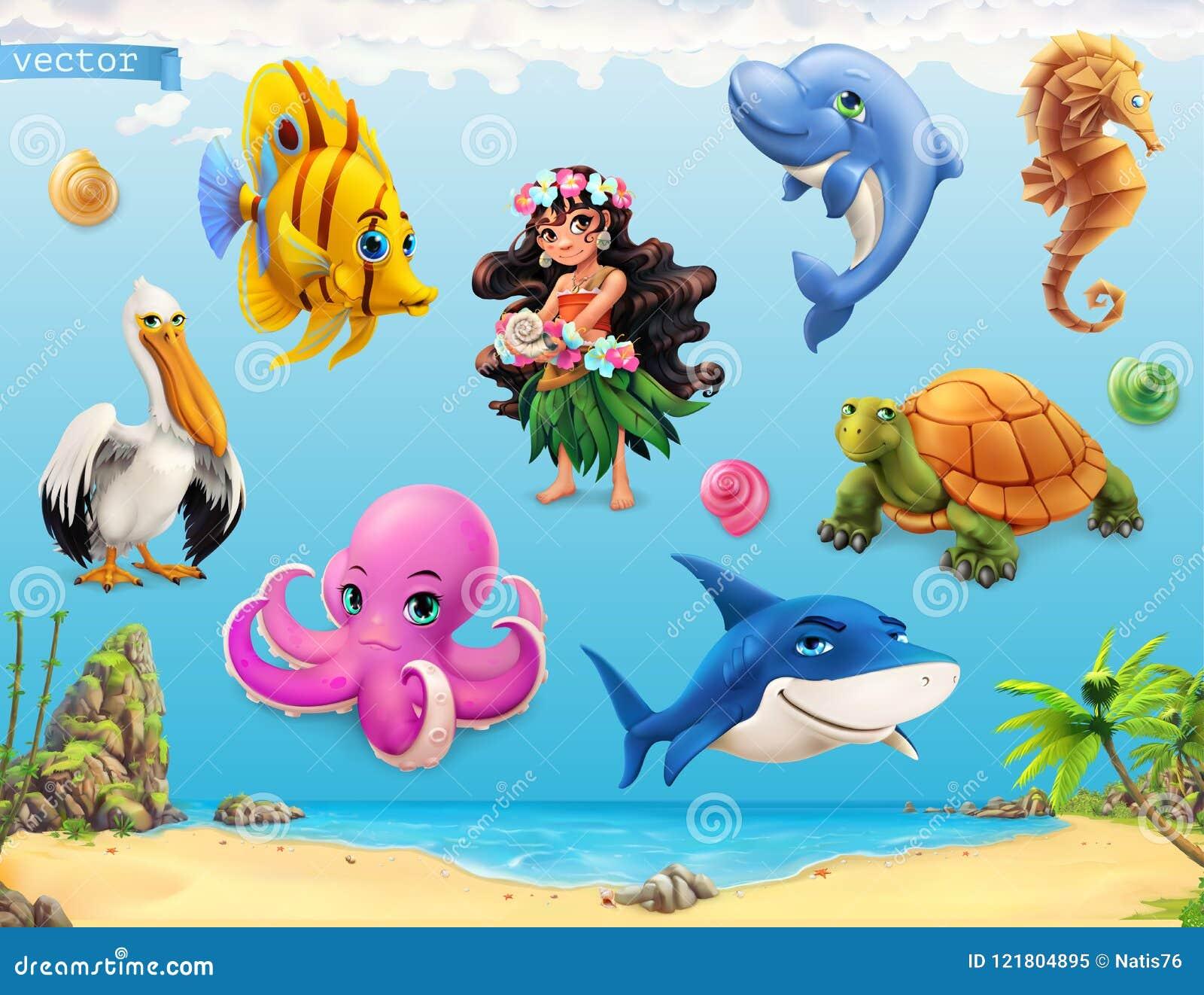 Liten flicka med ett snäckskal Roliga havsdjur och fiskar symboler för pappfärgsymbol ställde in vektorn för etiketter tre