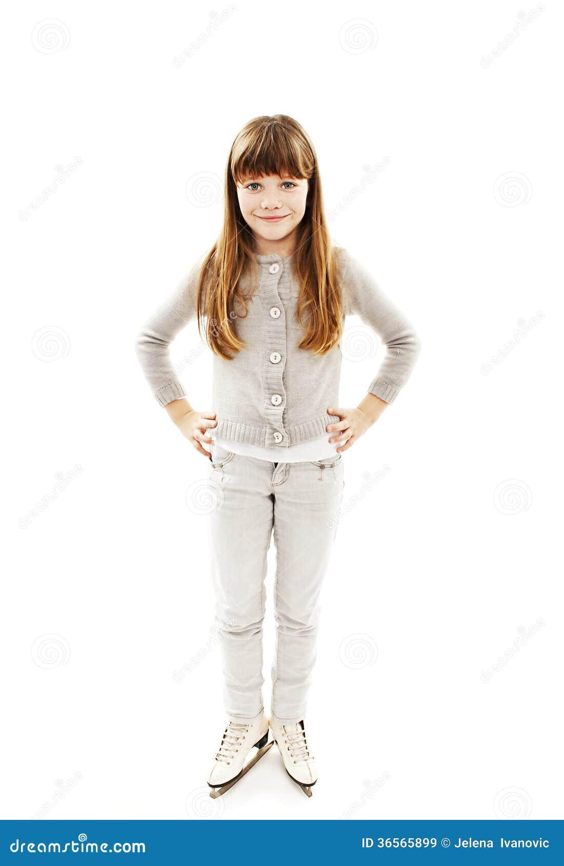 Liten flicka med isskridskor
