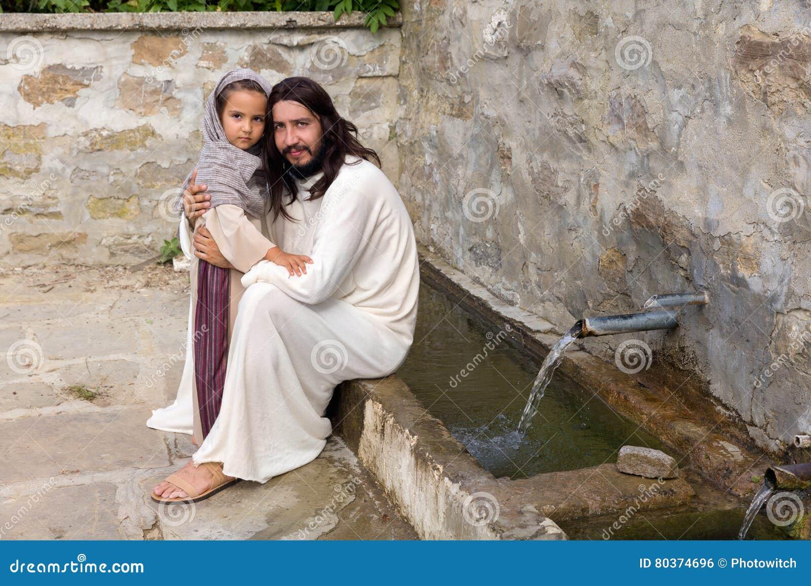 Liten flicka och Jesus på vattenbrunnen