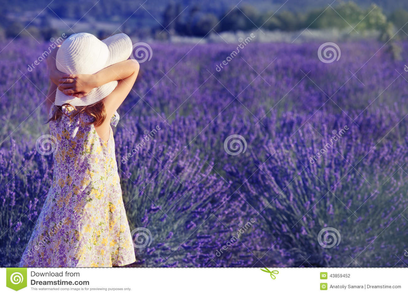 Liten flicka som ser lavendelfältet