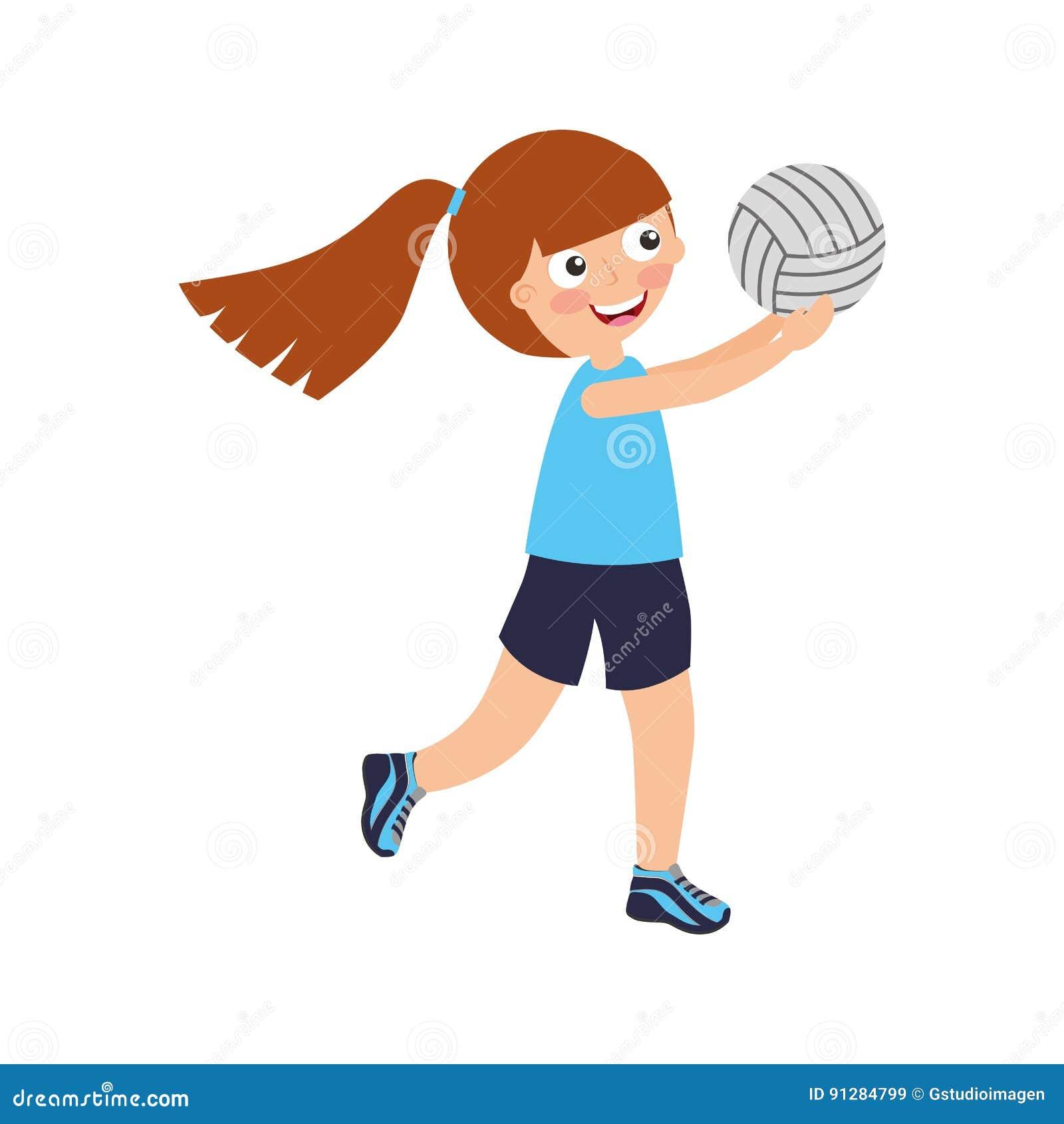 Liten flicka som spelar volleyboll