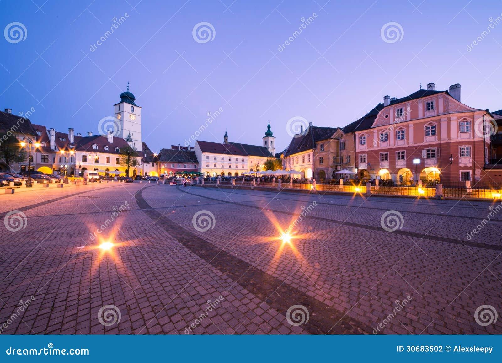 Liten fyrkant i Sibiu.