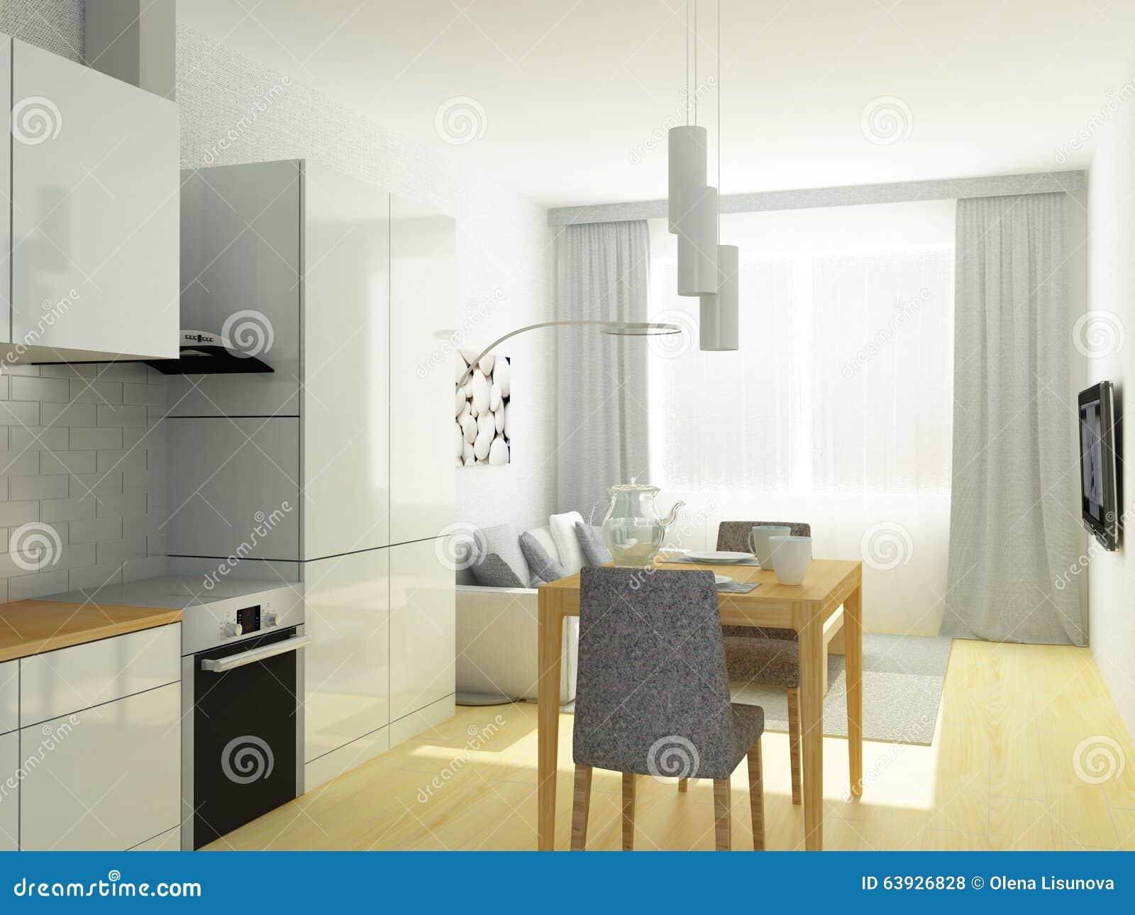 Liten lägenhet, studiorum, kök och vardagsrum i ljus   grå ...