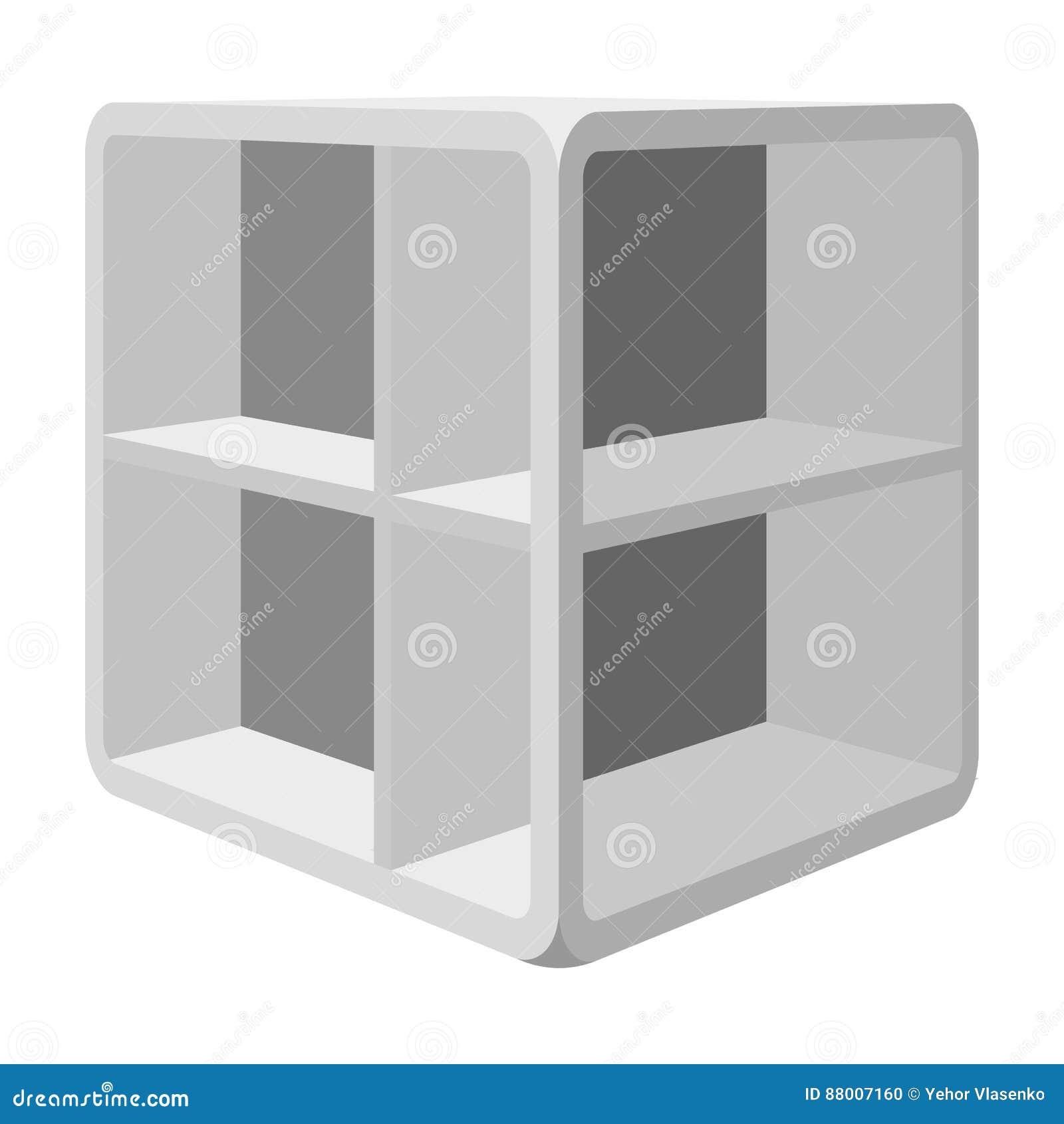 Liten rumkaffetabell Vit tabell med celler Enkel symbol för sovrummöblemang i monokromt materiel för stilvektorsymbol