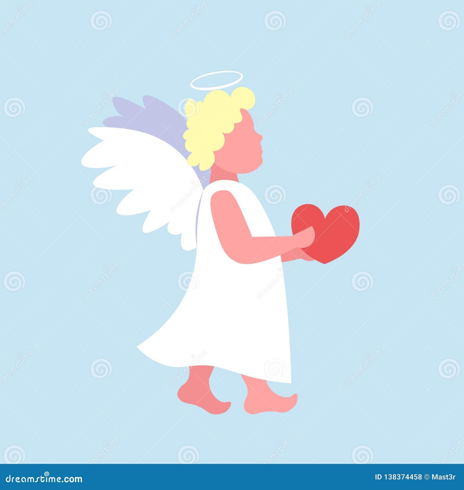 Liten valentinängelkupidon som mycket rymmer teckenet för tecknad film för rött för valentindag för hjärta lyckligt gulligt flyg