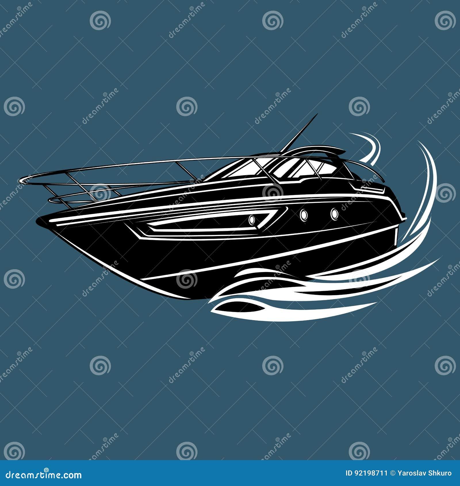 Liten yacht isolerad illustration Lyxig fartygvektor Rationalisera skytteln