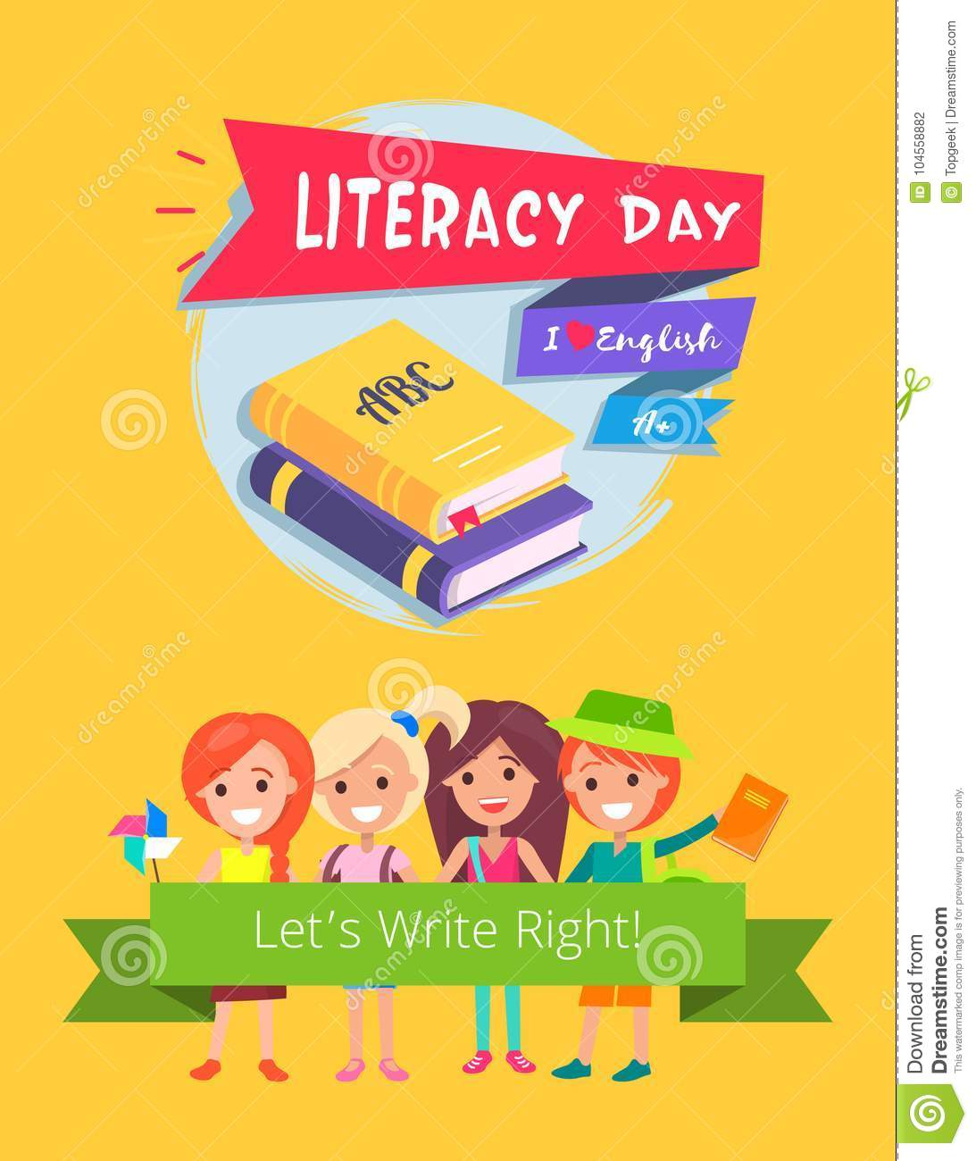 Do Children Have Right To Literacy >> Literacy Day Celebration Vector Illustration Stock Vector