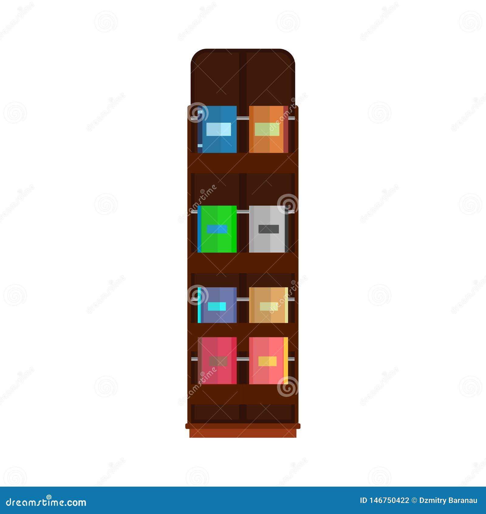 Literatura del estante para libros de la biblioteca de la colección de la educación del vector de la tienda del estante de librer