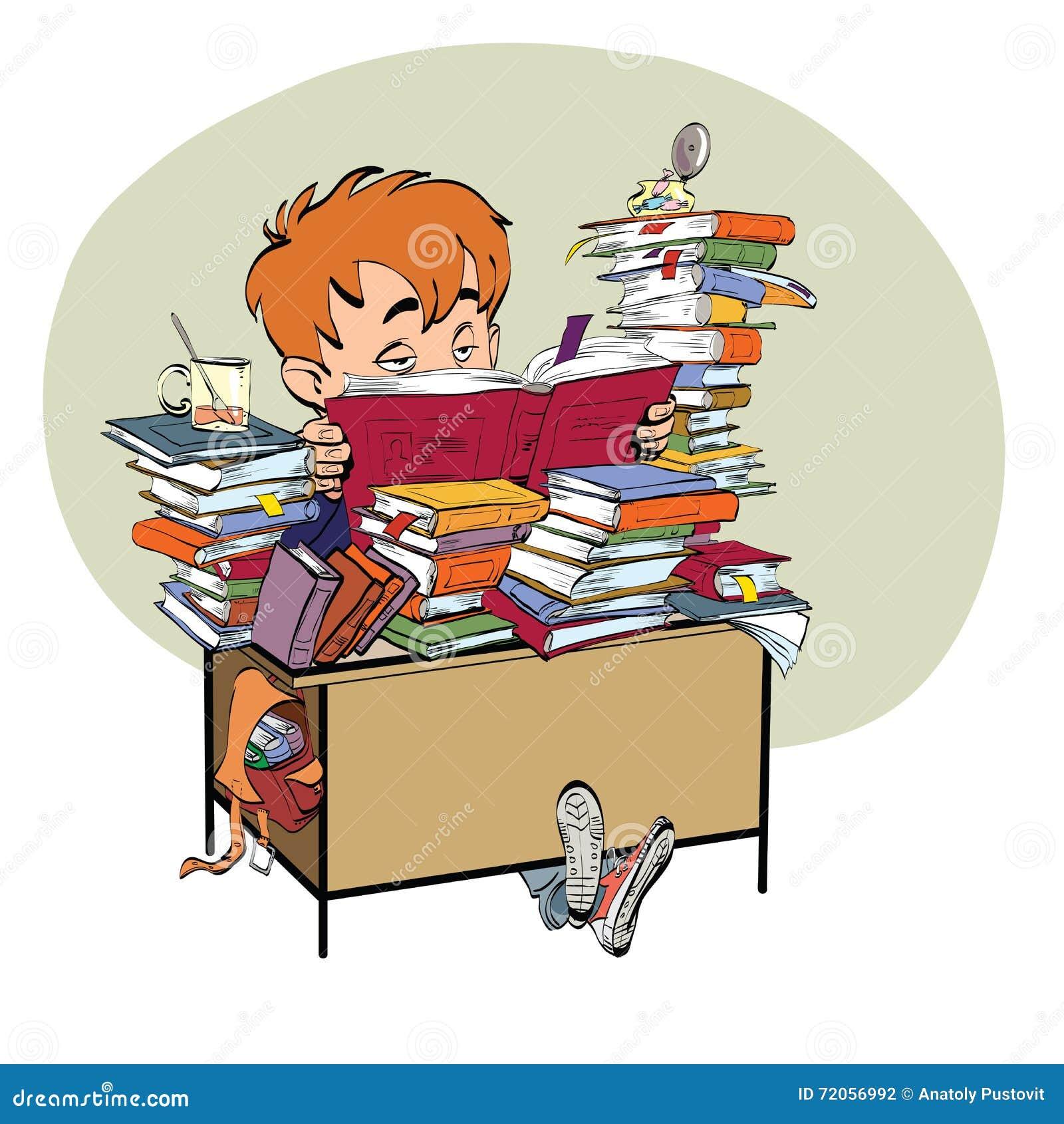Literatura, studencka chłopiec czyta książki