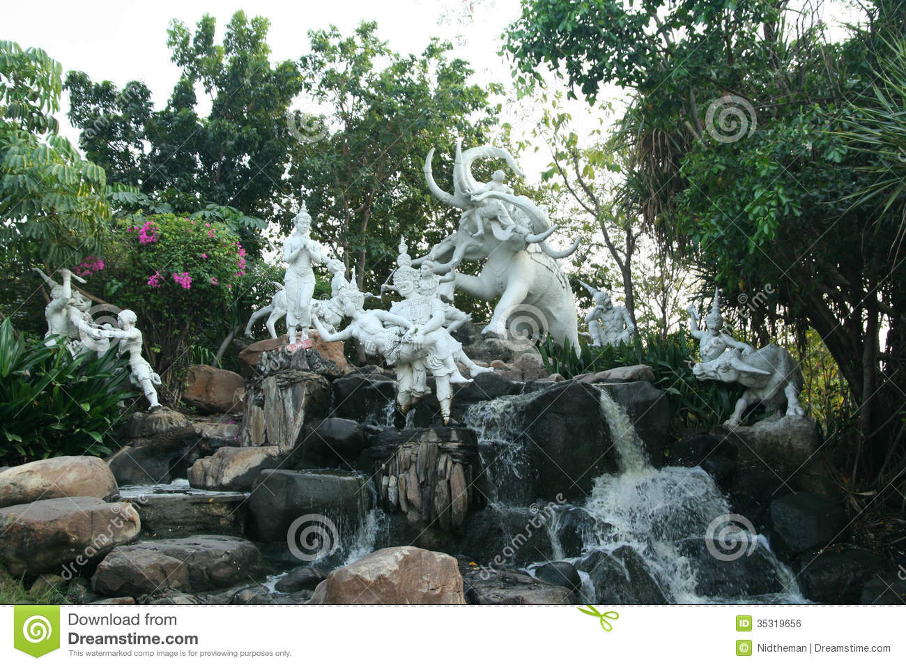 literature statue waterfall stock photo image of sculpture