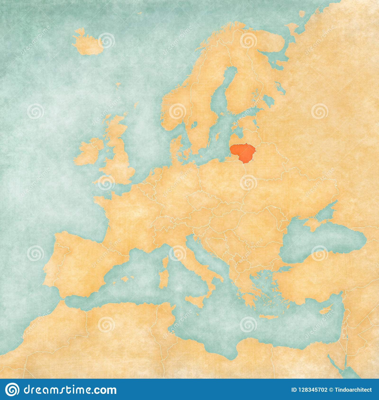 Lithuania On Europe Map.Map Of Europe Lithuania Stock Illustration Illustration Of Grunge