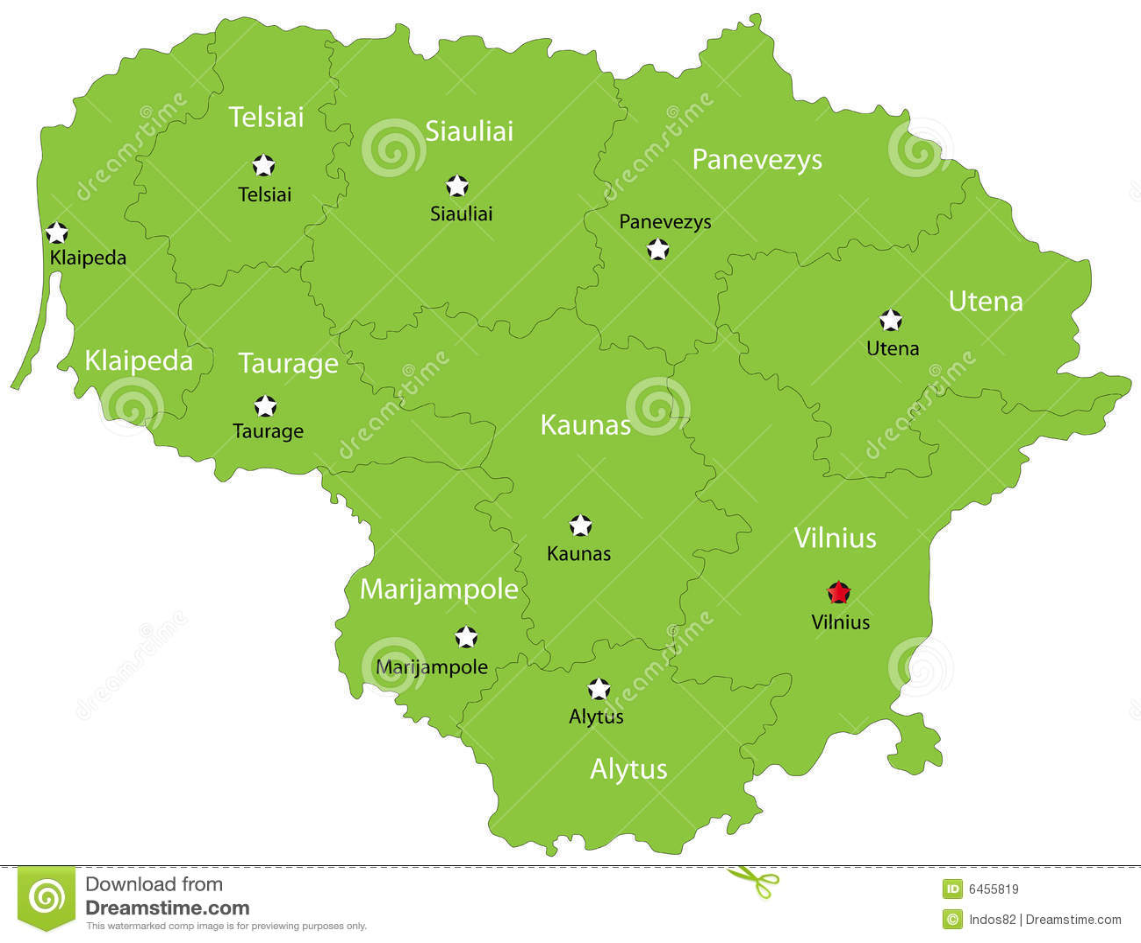 Lithuania wektorowa mapa