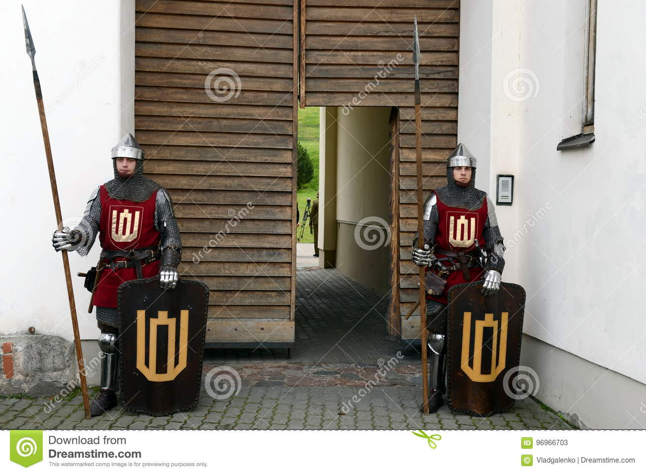 Lithuanian Knights At The Entrance To The Museum Of Applied Arts Editorial Stock Photo Image Of Reconstruction Arts 96966703