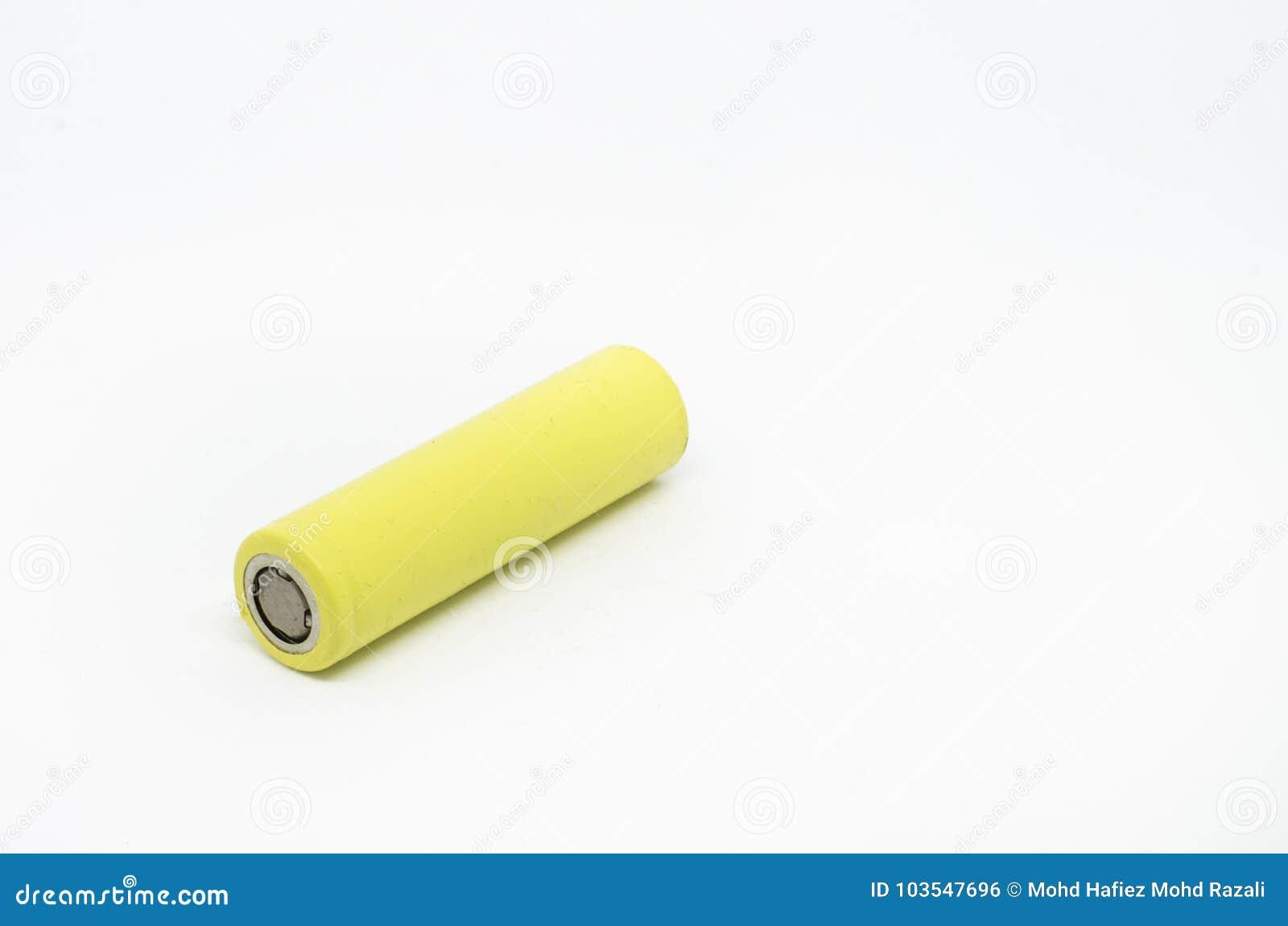 Litiumbatteri som isoleras på vit bakgrund
