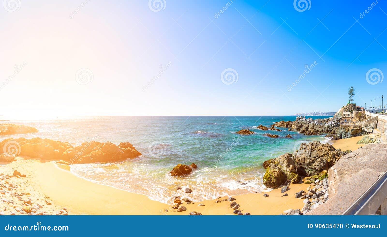 Litoral em Vina del Mar, o Chile