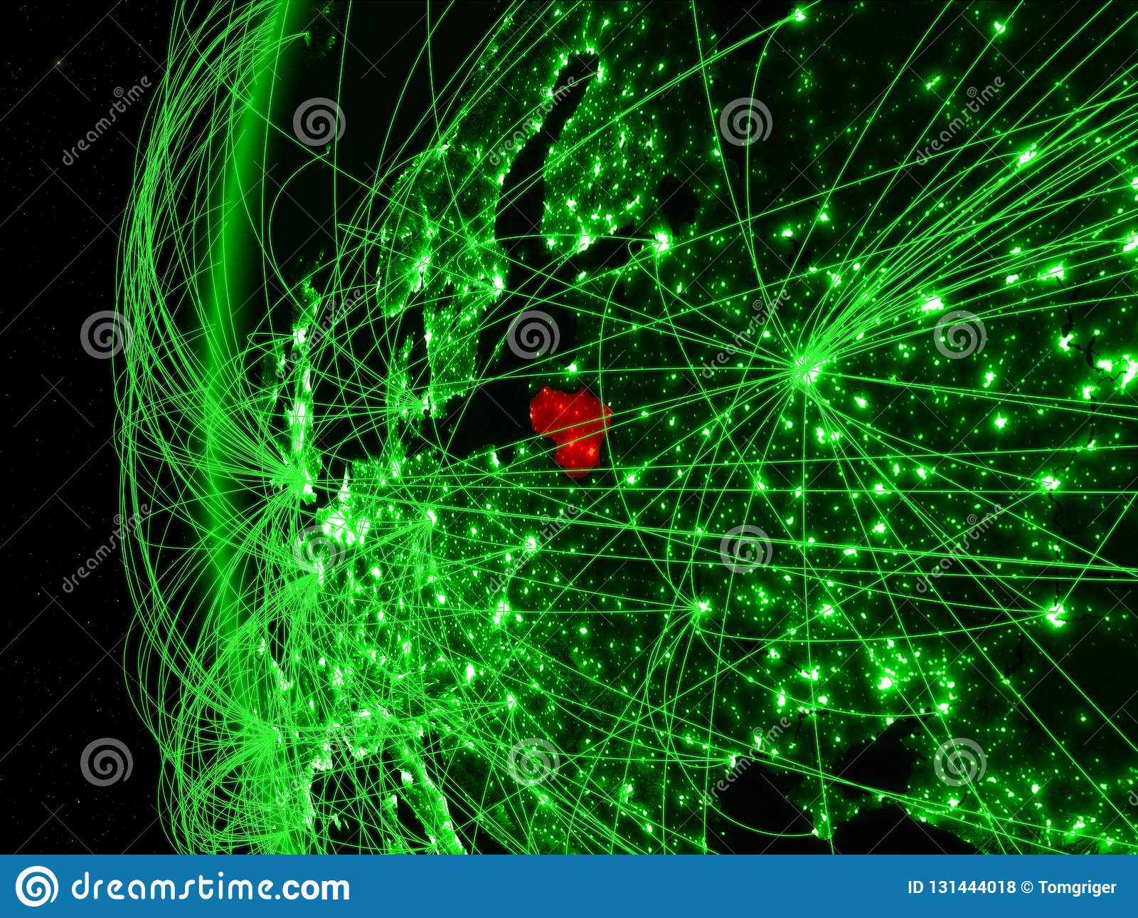 Litouwen van ruimte op groen model van Aarde met internationale netwerken Concept groene mededeling of reis 3d